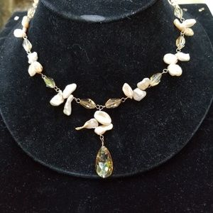 Sterling, Freshwater Pearl, and Crystal Necklace
